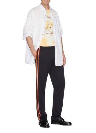 Figure View - Click To Enlarge - WALES BONNER - Graphic slogan print tie-dye effect T-shirt