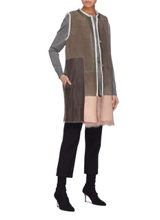 KARL DONOGHUE Colourblock lambskin shearling long gilet
