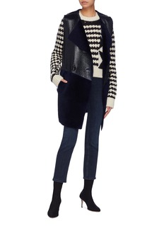 KARL DONOGHUE Lambskin shearling panelled double breasted long gilet
