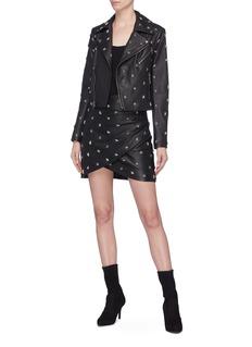 alice + olivia 'Fidela' star stud mock wrap leather skirt