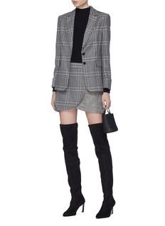 alice + olivia 'Lennon' zip front houndstooth tartan plaid wrap skirt