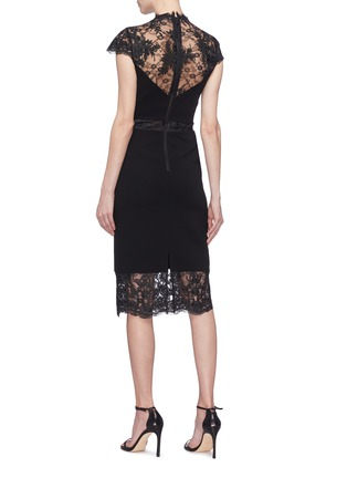 Back View - Click To Enlarge - ALICE + OLIVIA - 'Kim' Chantilly lace panel dress