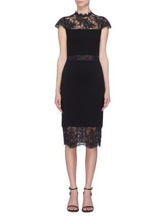 Main View - Click To Enlarge - ALICE + OLIVIA - 'Kim' Chantilly lace panel dress