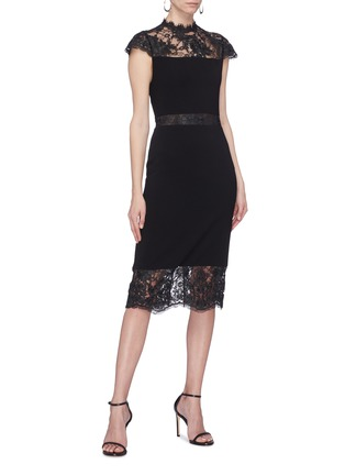 Figure View - Click To Enlarge - ALICE + OLIVIA - 'Kim' Chantilly lace panel dress