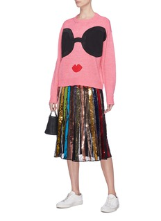 alice + olivia 'Tianna' sequinned stripe Chantilly lace midi skirt