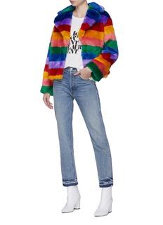 alice + olivia 'Thora' rainbow stripe faux fur oversized coat