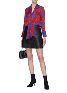 alice + olivia 'Gwenda' lavallière sash tie floral print blouse