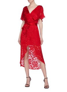 alice + olivia 'Darva' floral velvet flock print high-low wrap dress