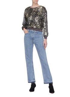 alice + olivia 'Smith' sequinned cropped sweatshirt