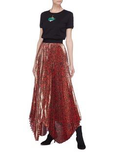 alice + olivia 'Katz' scalloped leopard print pleated skirt