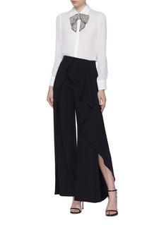 alice + olivia 'Willa' detachable embellished bow silk shirt