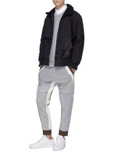MASSBRANDED 'Linear' zip outseam colourblock stripe quilted sweatshirt