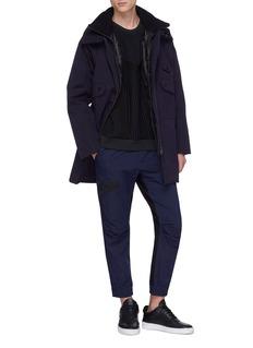 MASSBRANDED 'Spin' stripe quilted raglan sweatshirt