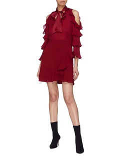 alice + olivia 'Gia' ruffle sleeve silk cold shoulder pussybow blouse