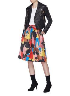 alice + olivia 'Birdie' Stacey print midi skirt