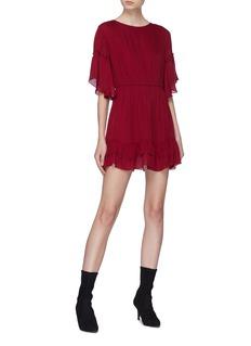 alice + olivia 'Katrina' bell sleeve ruffle hem silk dress