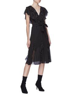 alice + olivia 'Tessa' belted ruffle godet pinstripe chiffon midi dress