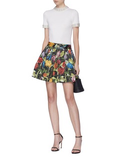 alice + olivia 'Fizer' floral print pleated skirt