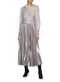 alice + olivia Metallic cutout one-shoulder sweater