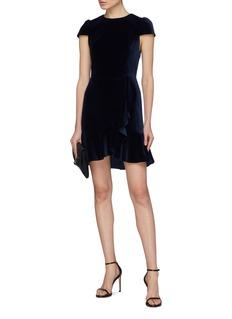 alice + olivia 'Enid' ruffle hem velvet mock wrap dress
