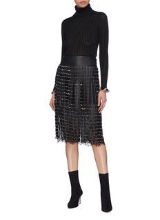 alice + olivia 'Senna' stud leather fringe overlay Chantilly lace skirt