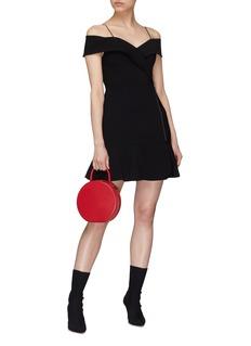 alice + olivia 'Dash' mock wrap off-shoulder peplum dress