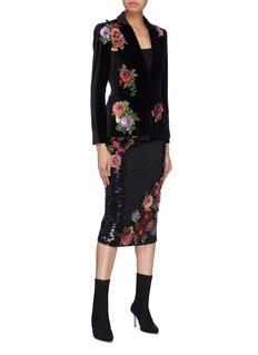 alice + olivia 'Hix' floral embellished velvet blazer