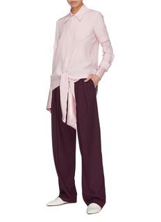VICTORIA, VICTORIA BECKHAM Sash tie front layered satin sleeve silk shirt