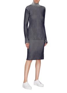 VICTORIA, VICTORIA BECKHAM Stripe wool ottoman knit skirt
