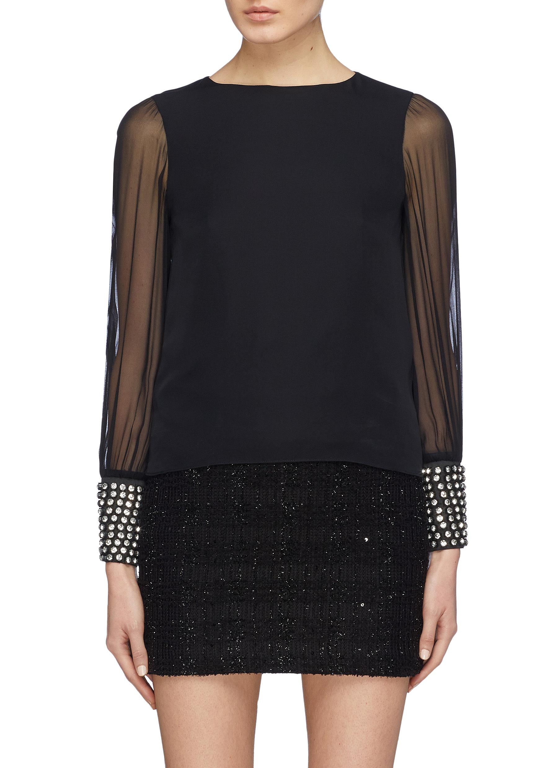 Vix glass crystal cuff silk blouse by Alice + Olivia