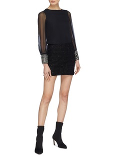 alice + olivia 'Vix' glass crystal cuff silk blouse