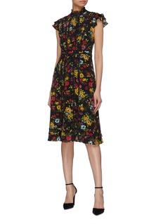alice + olivia 'Marta' ruffle high neck floral print silk dress