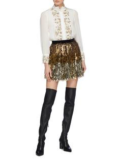 alice + olivia 'Zita' pleated sleeve graphic embellished blouse