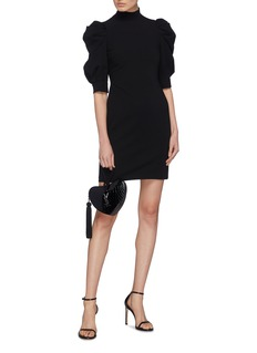 alice + olivia 'Brenna' puff sleeve mock neck dress