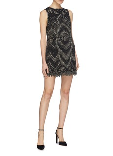 alice + olivia 'Clyde' graphic beaded shift dress