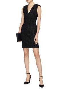 alice + olivia 'Adelaide' metallic tweed V-neck dress