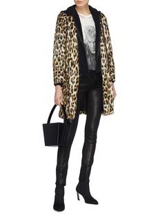alice + olivia 'Kylie' detachable jersey hood leopard print coat