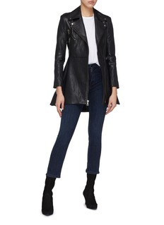 alice + olivia 'Bobbie' flared leather biker coat