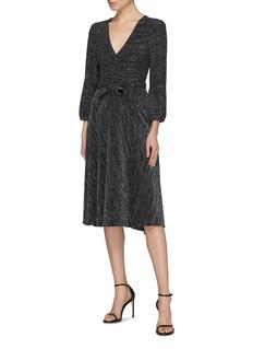 alice + olivia 'Coco' belted metallic V-neck dress
