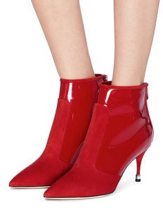 Paul Andrew 'Citra' suede and patent leather ankle boots