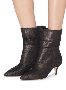 Paul Andrew 'Banner' foldover cuff crackle bouclé ankle boots