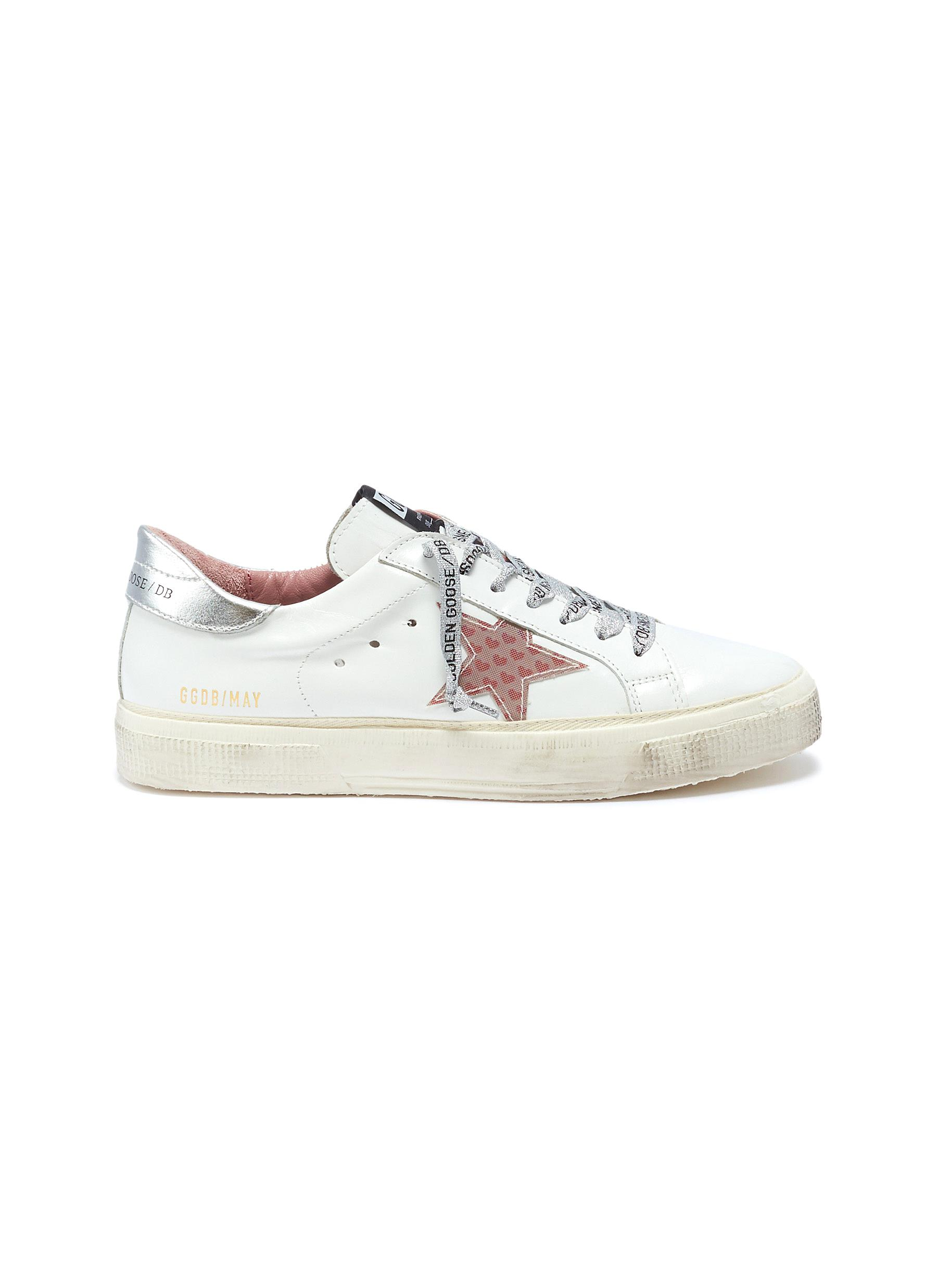 May heart print star patch leather sneakers by Golden Goose