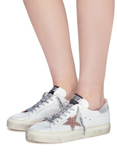 Golden Goose 'May' heart print star patch leather sneakers