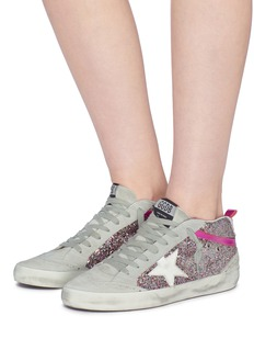 Golden Goose 'Mid Star' suede panel glitter coated leather sneakers