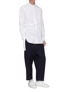 Jil Sander Mandarin collar layered placket shirt