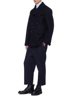 Jil Sander Contrast topstitching double breasted wool melton peacoat