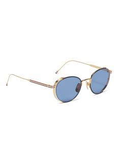 Thom Browne Stripe temple metal round sunglasses