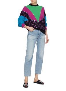 Gucci GG diamond sequin panel colourblock sweater