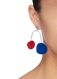 OOAK Colourblock geometric arch drop earrings