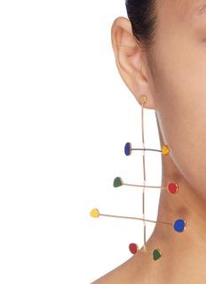 OOAK Geometric charm tiered bar drop earrings